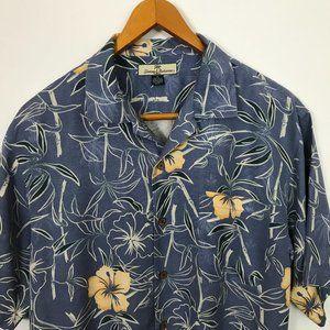Tommy Bahama Blue Short Sleeve M Floral Silk